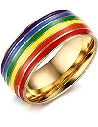 Daesar Joyería Anillo Acero Inoxidable de Mujer Hombre, Lesbian LGBT Orgullo Gay Arco Iris Tira Banda Venda