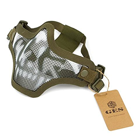 GES Outdoor Tactical CS Wire Mesh Mask Airsoft Mesh Steel Half Face Mask with Camouflage for Airsoft Shooting Paintball (Green