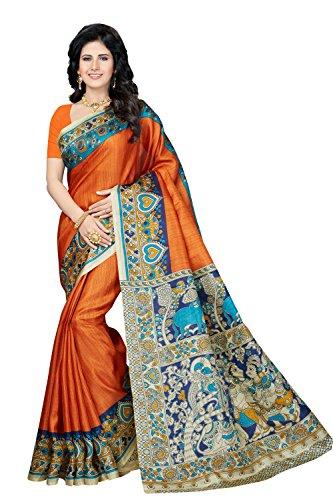 Rani Saahiba Kalamkari Printed Art Bhagalpuri Silk Saree ( Orange_SKR3308 )