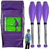 Passe Passe Kit 3 Club di Giocoleria perpetuo Giochi di destrezza 5-9 Anni 45 Centimetri Viola + Zaino