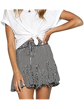 Hibote Verano Falda para Mujeres - Moda Cintura Alta Swing Skirt a Rayas Elegante Cintura Elástica Plisada Mini...