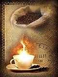 Fototapete Tapete Wandbild Vlies | Welt-der-Träume| Kaffee mit Feuer und Frische Bohnen | VEA (206cm. x 275cm.) | Photo Wallpaper Mural 2243VEA-AW | Kaffe Duft Kaffeebohnen Tasse Braun Kaffeemühle