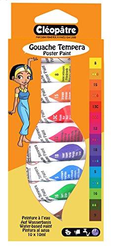 Cléopâtre - BL10PGN10 - Peintures Gouache en Tubes - Assortiment de couleurs - 10 Tubes de 10g