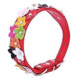 SODIAL Soft Pu Leder Hundehalsband Blume gepolstert (Rot, M)