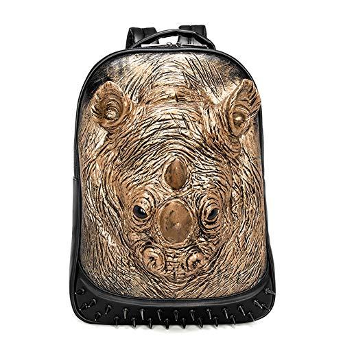 Ljshu zaino uomo pu traspirante da indossare 3d stereo rhino grande capacità tracolla regolabile sport travel borsa studenti,gold