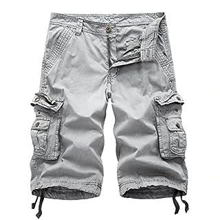 AYG Cargo Shorts Herren Bermudas Baumwolle Shorts Freizeit Sport 30-38, A082 grau, W34(DE 50/L)/Taille:86-91cm
