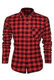 Coofandy Camisa a Cuadros para Hombre Manga Larga Talla Grande Rojo XXL