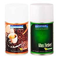 Airance Room Freshner Spray Automatic Refill / Air Freshner / Perfume Spray / Fragrance Aroma Air Freshener Refill - Air Freshener Coffee & Khus(Vetiver) - 250 ML - Pack Of Two - Fit all Machines using 250 ML / 300 ML bottles