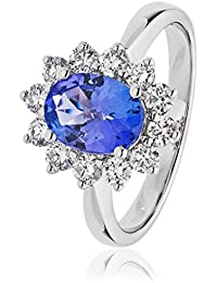 1.75CTS Certified G/VS2 Tanzanite 1.15CT Brilliant Cut Diamond Set Ring in 18k White Gold