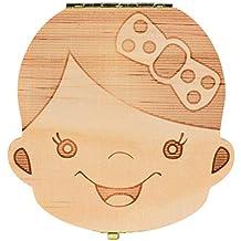 Regalos para Recién Nacidos,VENMO Caja de Dientes para Bebés (Niñas),Caja de almacenamiento de madera para Dientes de leche,