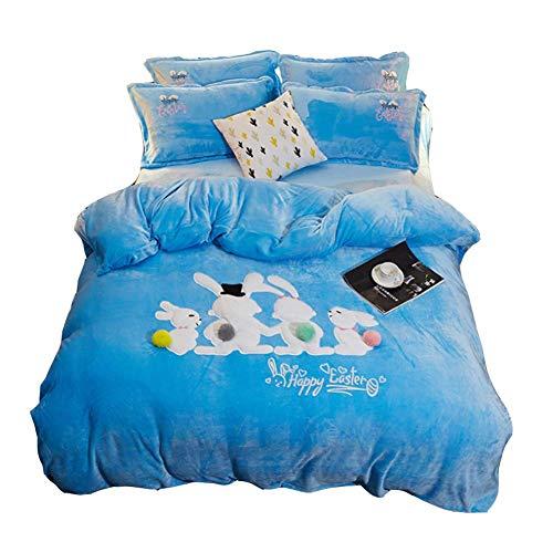 Giow Flanelle BettwäSche BettwäSche, 4 StüCk Queen Sheets, Tiefe Tasche Spannbettlaken, Flaches Blatt, KissenbezüGe - Cartoon Queen Sheet Set,Blue (Flanell Sheet Set Queen)