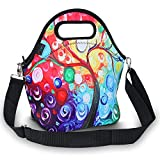 ICOLOR Insulated Neoprene Lunch Bag - Removable Shoulder Strap - Large Size Reusable