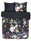 Essenza Satin-Bettwäsche Fleur, Farbe Nightblue 135x200cm+80x80 / 100% Baumwoll-Bettwäsche mit Reißverschluss / hochwertige Bezüge mit tollem Design