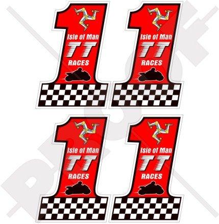 ISLE of MAN Île de Man TT Courses Numéro 1 MANX Moto GP, 50mm Vinyle Autocollants, x4 Stickers