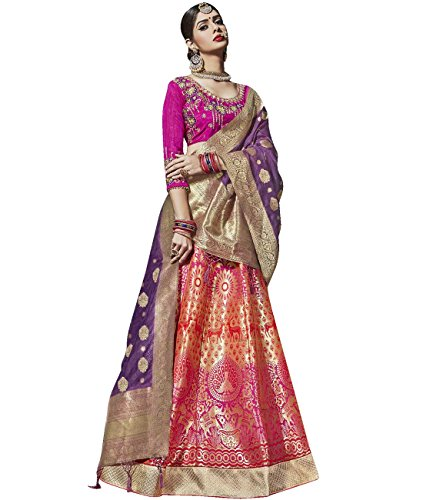 Indian Ethnicwear Bollywood Pakistani Wedding Pink A-Line Lehenga Semi-stitched