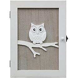 Hibou Armoire à clés murale avec 6 crochets à clés Blanc/naturel 21 x 28 x 7 cm