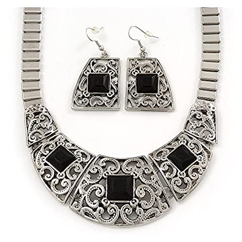 Ethnic Silver Tone Filigree, Black Glass Stone Necklace With T-Bar Closure & Drop Earrings Set - 40cm