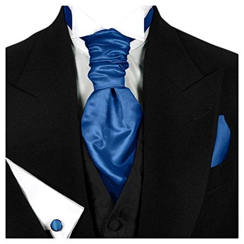 GASSANI (3er-Set Plastron Krawatten-Schal Breit, Blaue Hochzeitskrawatte Gebunden Einstecktuch Manschettenknöpfe, Z. Hochzeitsanzug Weste Frack - Krawatte Herren Seide Schal
