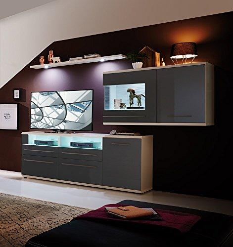 Design Mediencenter mit Hängeelement LED Glaskantenbeleuchtung, exklusives Design, hochwertige OBF, satinierte Glasböden, Vario-Beleuchtung mit FB, dimmbar, Basaltgrau Hochglanz mit Zubehör