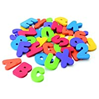 36 x Alphabet and Numbers Foam Shower Toy Sticker, Alphabet for Babies