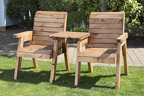 Image of UKG Heavy Duty Love Seat Wooden 2 Seater Garden Bench Square Table Fully Assembled UK Made