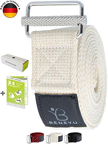 beneyu ® Innovativer Yoga Gurt - rutschfeste Metall-Schnalle - 100% Baumwolle - Made in Germany +Asanas
