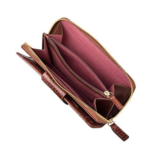 Maxwell Scott Bags® Porte-Monnaie Zippé Cuir Faux-Croco Femme Marron Foncé (Giorgia Croco) Marron Clair Croco