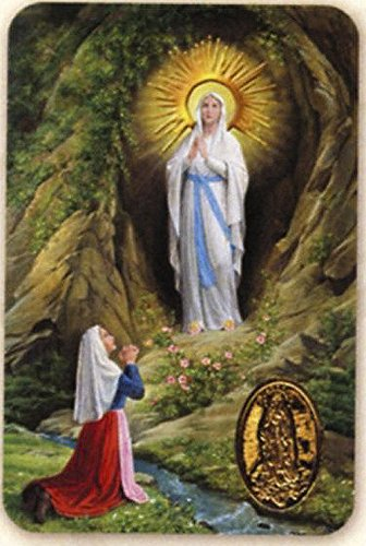 Notre Dame de Lourdes - Carte poinçon style médaille avec prière - Livraison gratuite