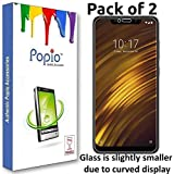 Popio Tempered Glass For Poco F1 (Transparent) Edge To Edge Full Screen Coverage With Easy Installation Kit (Pack Of 2)