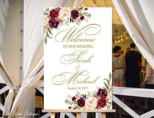 Bair89Pulla Welcome to Our Wedding Schild weiß Welcome Hochzeit Schild groß Willkommen Schild Hochzeit Schild Bedruckbar Willkommen Schild