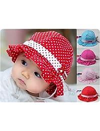 HuntGold Chapeau de soleil bébé fille confortable Motif à pois en coton 3–24mois Rose