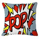 Fossrn Funda de cojín de lino y algodón, 45x 45 cm, Carta - BANG/OK/POW/BOOM/OMG/ZAP/KA-POW/POP (POP)