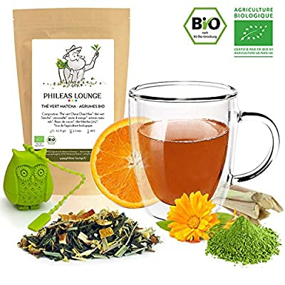Thé vert Matcha Agrume Bio - Thé Vert Matcha Orange Citronnelle biologique -80g - Infuseur Chouette offert