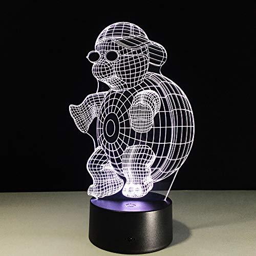 Qliyt Schildkröte Mit Sonnenbrille 3D Led Nachtlicht Lampe 7 Farben Ändern Touch Nachtlicht Für Kinder Gradient Neuheit Beleuchtung