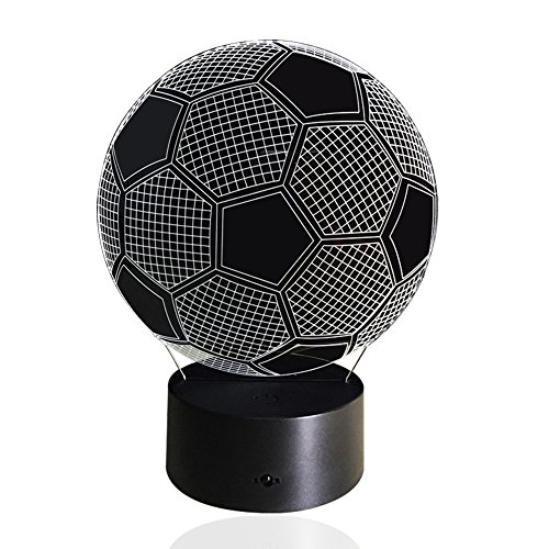 Image of Manfore 3D Football Light Table LED Night Light Touch Sensor 7 Color Changing Lights Powered By USB or Batteries Room Home Decoration Best Gift