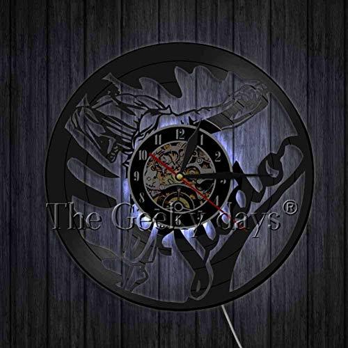 DFRTY Gym Sign Wall Arts Decor Jiu-Jitsu Vinyl Record Reloj de Pared Vintage Relojes Martial Judoka Gift