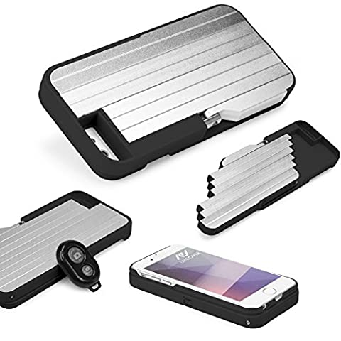 Urcover® Handy-Hülle mit Selfie-Stick Stange | Apple iPhone 6 / 6s | Foto-Stab in Schwarz | Photo-Hilfe | Smartphone Zubehör | Handy-Case Cover | separater Auslöser