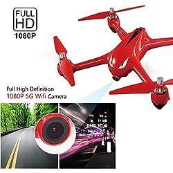 Koeoep Bugs2W RC - Drone sin escobillas con cámara GPS 1080P (vídeo en vivo, 2,4 GHz, 4 canales, distancia de control muy larga, cuadricóptero)