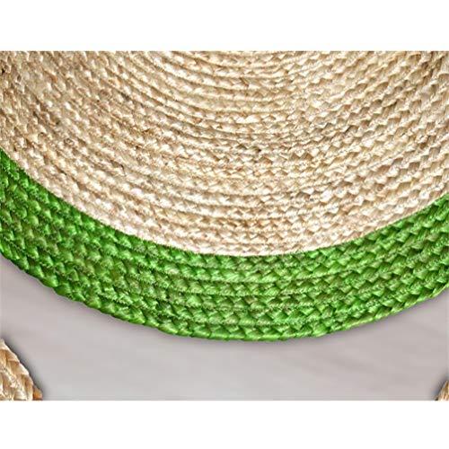 AMON LL Handgewebter runder Teppich aus Jute, rutschfeste Computermatte für das Wohnzimmer,Grün,120 * 120cm -