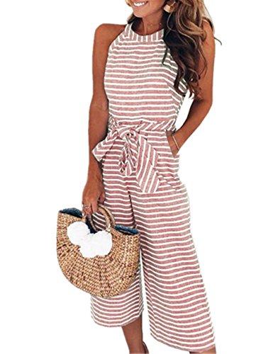 SELUXU Damen Ärmellos Jumpsuit Striped Waist Breites Bein Overalls mit Gürtel Sommer Casual Hohe Taille Rompers S-XL (Ärmelloses Jumpsuit)