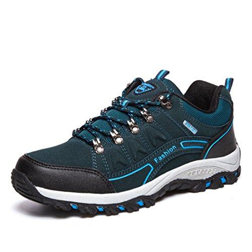 Men's Zapatillas Hombre Leather Outdoor Hiking Shoes blue