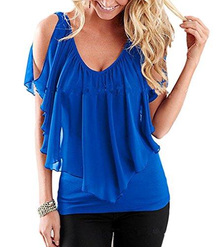 Smile YKK Chemise Femme Mousseline de Soie T-shirt Epaule Nue Blouse Col V Top Manches Courtes Bleu