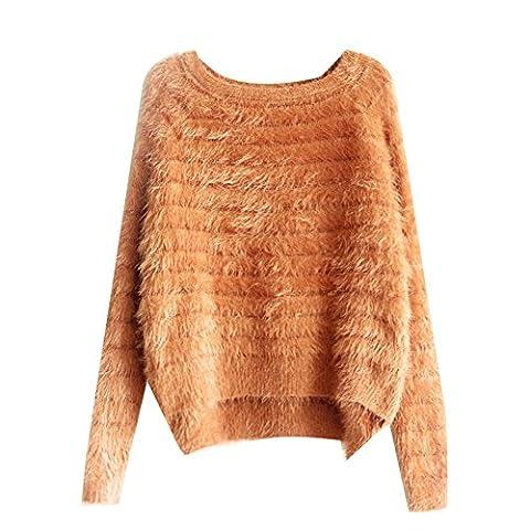 5 ALL Damen Pullover Mohair Beiläufige Lose Strickwaren Rundhals Langarm Unregelmäßig Bluse Oberteile Oversize Tops Sweater