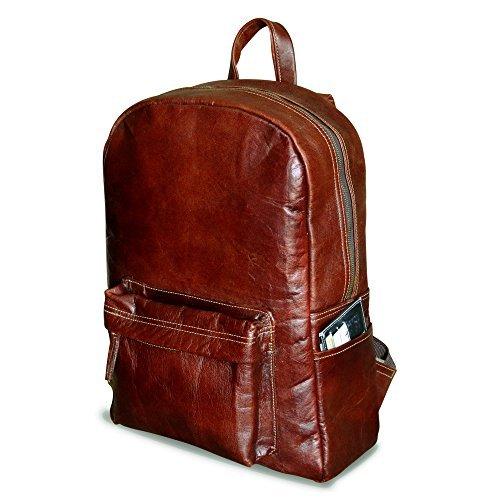 18' braun Leder Rucksack Vintage Rucksack Laptop-Tasche Wasserdicht Lässig Daypack College Bookbag Komfortable leichte Reiserucksack Wandern/Picknick-Tasche für Männer