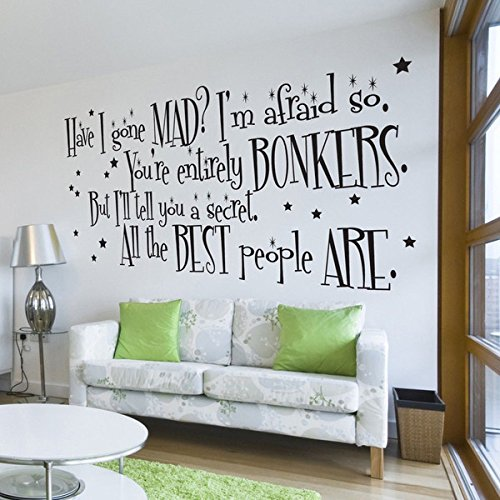 Lovely Vu0026C Designs Ltd TM Alice In Wonderland The Mad Hatter Have I Gone Mad?  Quote Large Statement Wall Sticker Mural Vinyl Decal