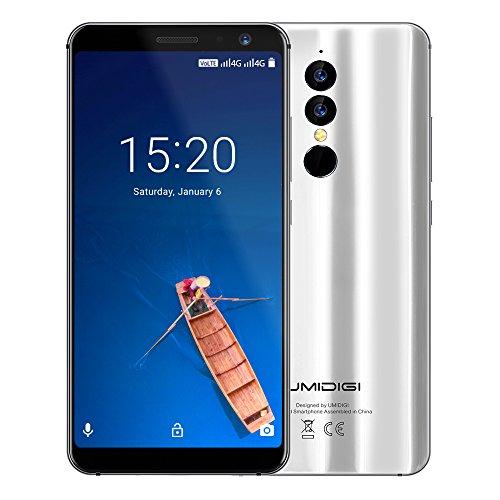 UMIDIGI A1 Pro, Android 8,1 Oreo Smartphone ohne Vertrag Dual Sim 4G 5,5 Zoll 18:9 Full Screen Display, Triple Kameras(13MP+5M Hauptkameras / 5MP Frontkamera)3GB RAM + 16GB ROM 256GB erweiterbar 1.5GHz Quad Core, Face ID & Finger ID Unlock, 3150mAh Akku Quick-Charging - Silber