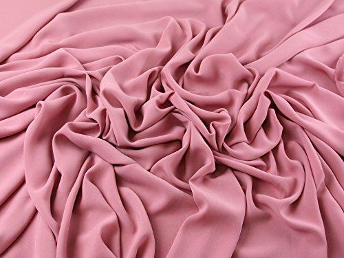 Mix & Match Polyester Crepe Kleid Stoff Uni Rosa–Meterware (Crepe Polyester)