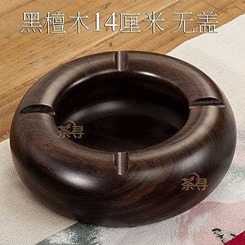 Ebano vassoi di cenere di legno massello posacenere rotondo, home decoration,14*14cm senza coperchio