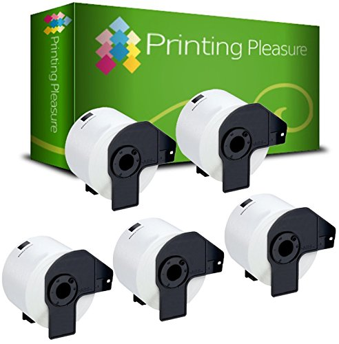Printing Pleasure Kit 5 DK-22205 62mm x 30.48m Etichette adesive continuo compatibile per Brother P-Touch QL-500/QL-550/QL-560/QL-570/QL-700/QL-710W/QL-720NW/QL-1050/QL-1060N, bianco