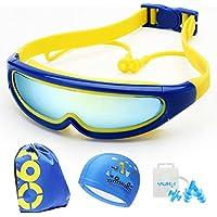 William 337 Anti-Niebla UV Protección Sombrero Oreja Enchufe Clip de Nariz Natación Gafas Niños Gafas de Natación (Color : D)